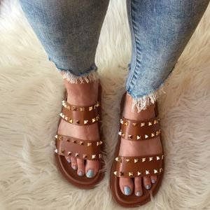 Cognac Double Strap Spiked Footbed Sandals